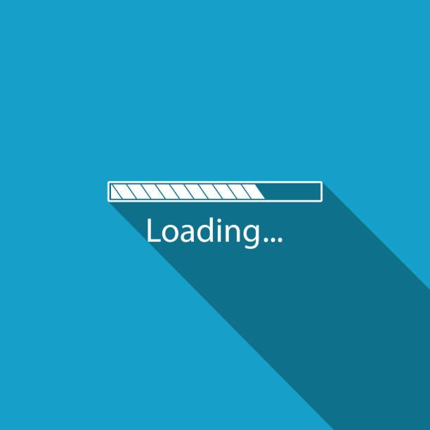 Loading icon isolated with long shadow. Progress bar icon. Flat design. Vector Illustration Loading icon isolated with long shadow. Progress bar icon. Flat design. Vector Illustration loading stock illustrations