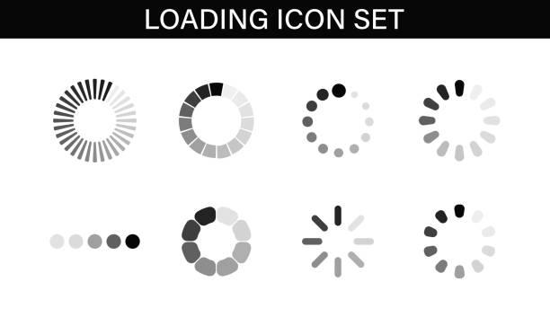 Loading icon set. Buffer loader or preloader. Donload or Upload. Collection of simple web download. Vector illustration. Loading icon set. Buffer loader or preloader. Donload or Upload. Collection of simple web download. Vector illustration waiting stock illustrations