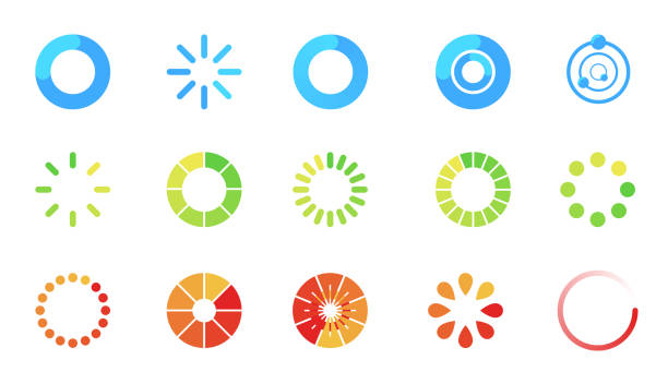 illustrazioni stock, clip art, cartoni animati e icone di tendenza di loading icon set isolated on white background. progress bar collection. colorful icons for interfaces. simple beautiful modern graphic design. flat style vector illustration. - misuratore
