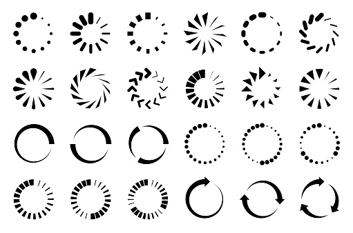 Vector collection of loading icon set. Circle design elements.