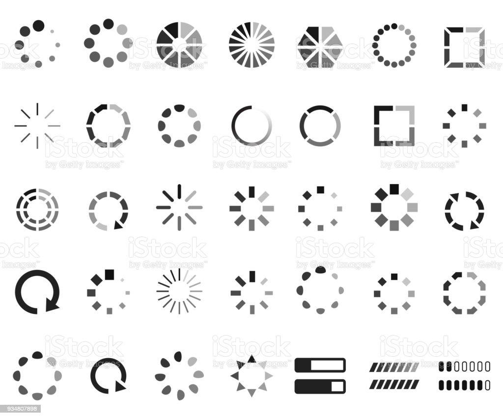 Loading icon set vector art illustration