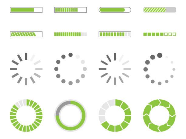 ładowanie ikon, znak wskaźnika obciążenia - postęp stock illustrations