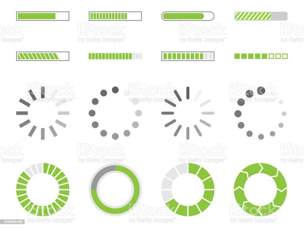 loading icons, load indicator sign vector art illustration