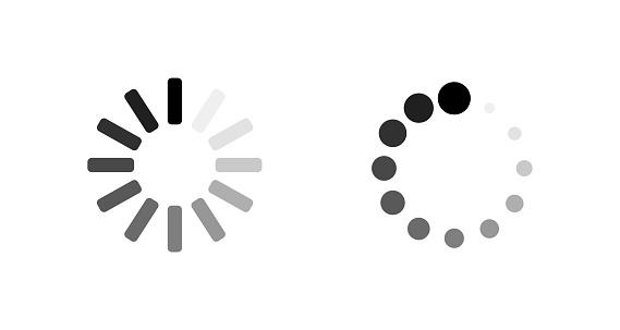 Loading icons. Load. Load icons. Two loading icons on empty background. Eps10