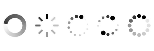 ilustrações, clipart, desenhos animados e ícones de ícones do carregamento ajustados. coleção do ícone da carga ilustração do vetor - esperar