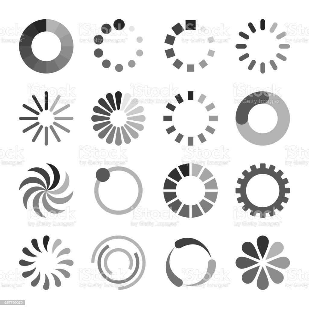 Loading Icons Set vector art illustration
