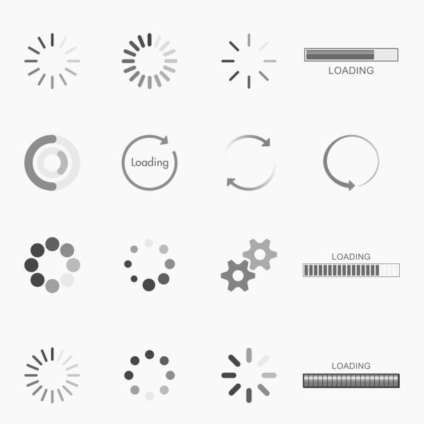loading icons vector art illustration