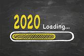 Loading New Year 2020 on Blackboard Background