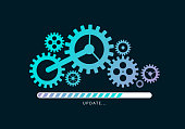 Loading or updating files with mechanism illustration. Vector illustration design.