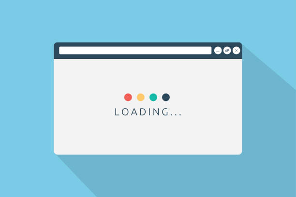 illustrazioni stock, clip art, cartoni animati e icone di tendenza di loading page browser in flat style vector illustration - browser web