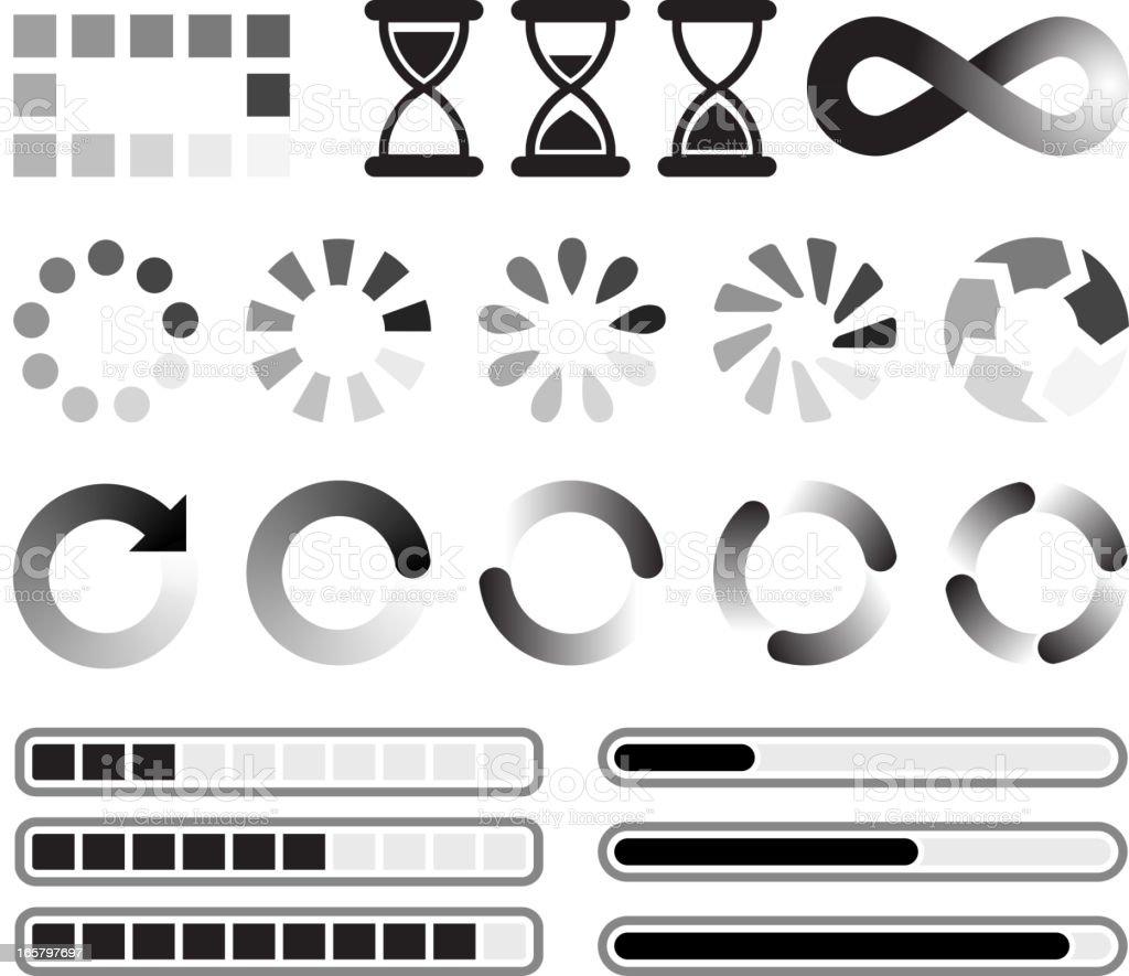 Loading preloader and downloading Vector Icons black & white set vector art illustration