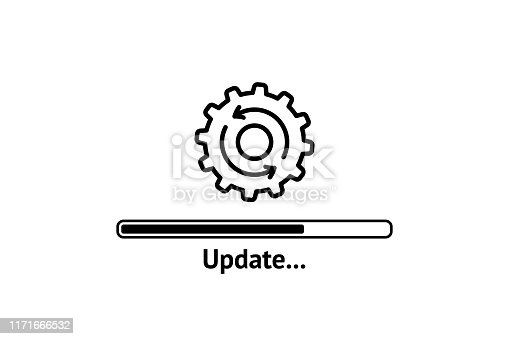 istock Loading process. Update system icon. Concept of upgrade application progress icon for graphic and web design. Upgrade Update system icon. 1171666532