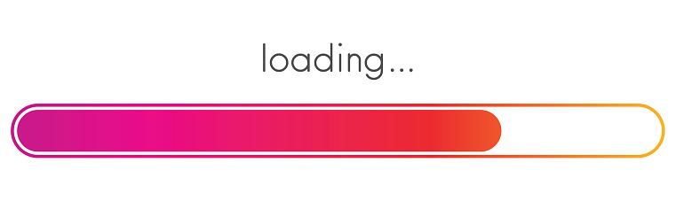 Loading progress bar. Pink spectrum scale.