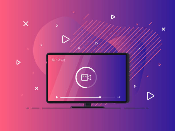 Loading stream TV. Flat LED television display on geometric liquid background. Vector Illustration. Flat LED television display on geometric liquid background. Vector Illustration. television set stock illustrations