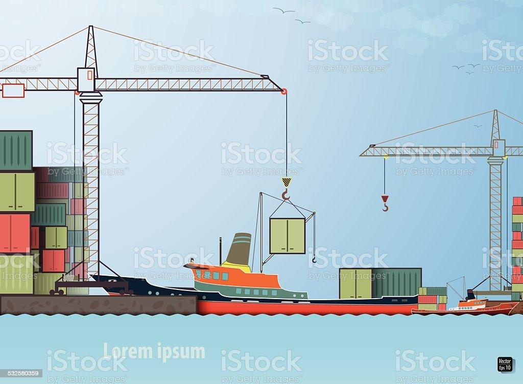loading unloading cargo ship in the port vector art illustration