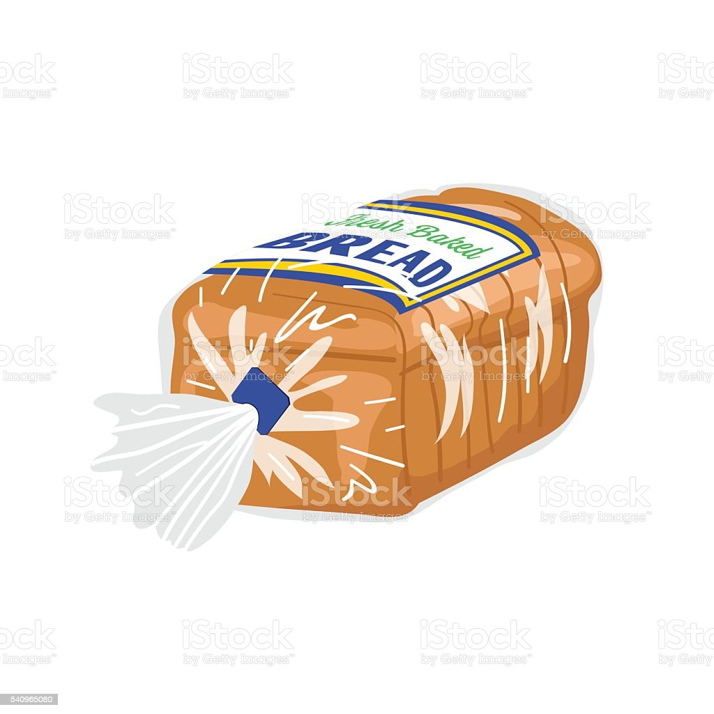 Loaf Of Sliced Bread In A Plastic Wrapper向量藝術插圖