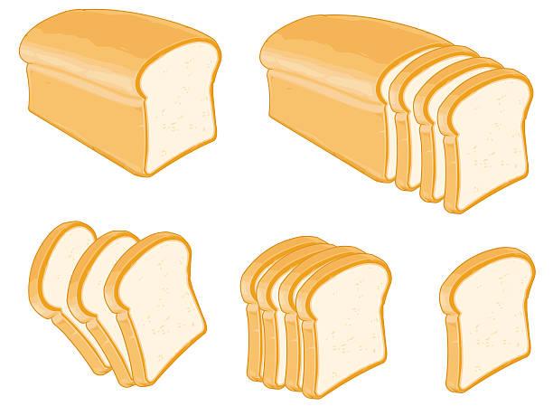 Molde de pan blanco en rebanadas conjunto y - ilustración de arte vectorial