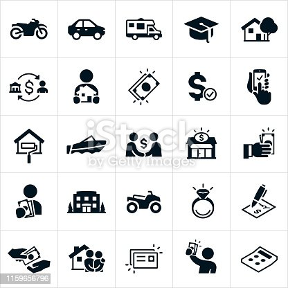 A set of icons representing types of loans and the borrowing of money. The icons include common items purchased with a loan like a motorcycle, car, motorhome, education, house or mortgage, business, home renovation, wedding ring, motor boat and ATV. They also include people holding borrowed money, lenders giving money, cash, credit card, loan contract and calculator to name just a few.