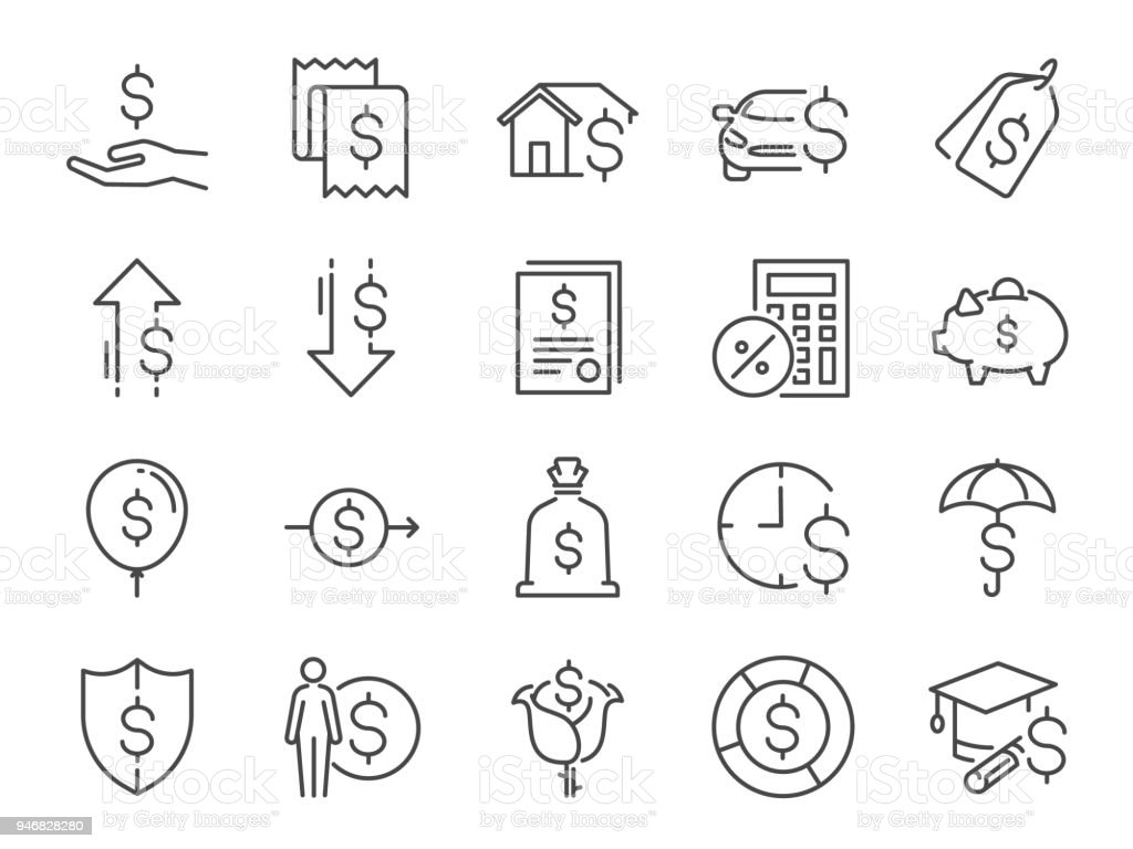 대출 및 이자 아이콘 세트입니다. 수수료, 개인 소득, 집 담보 대출, 자동차 임대, 고정 요금 관심, 할부, 비용, 재무 비율 등으로 아이콘 포함 - 로열티 프리 가격 벡터 아트