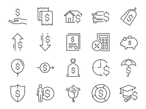 ilustrações, clipart, desenhos animados e ícones de conjunto de ícones de empréstimo e os juros. incluídos os ícones como taxas, renda pessoal, empréstimo de hipoteca da casa, locação, taxa fixa de juros, parcela, despesa, relação financeira e muito mais - empréstimo