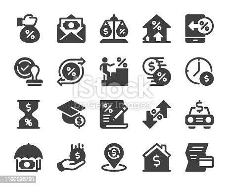 Loan and Interest Icons Vector EPS File.
