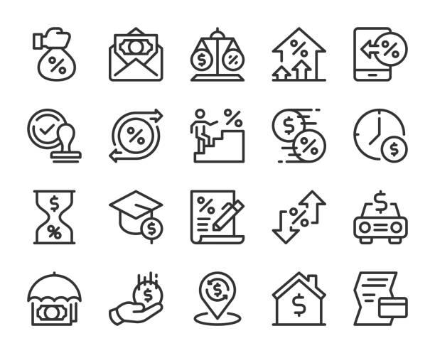 대출 및 이자-라인 아이콘 - 가격 stock illustrations