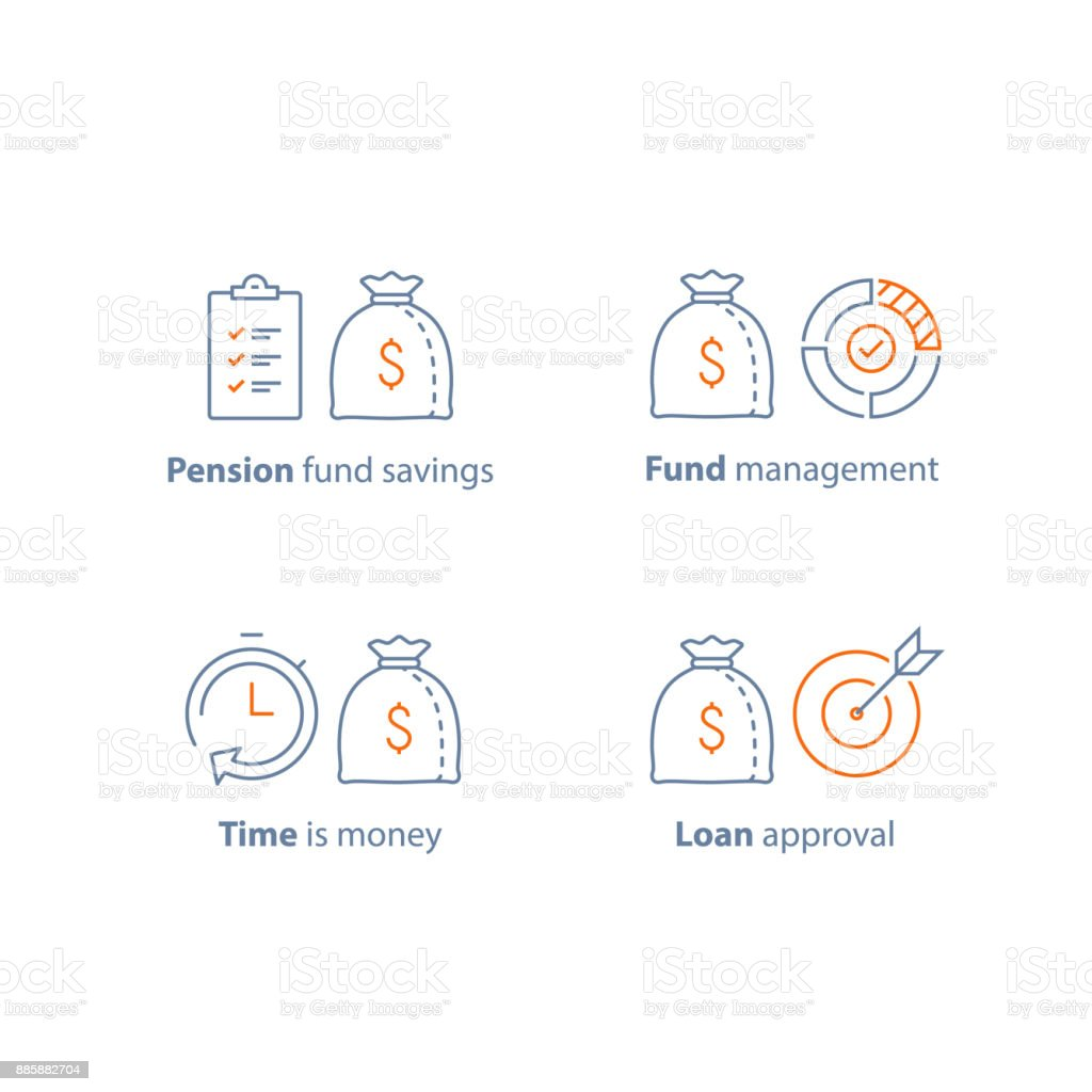 Loan approval, accountancy service, pension savings, mutual fund management, long term investment, financial strategy, finance solution vector art illustration