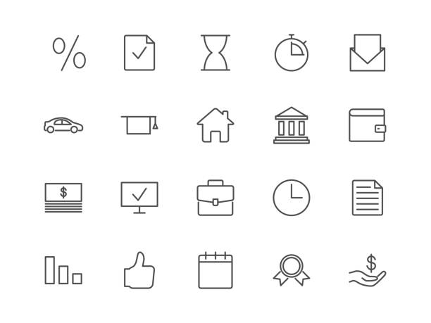 loan, credit, mortgage vector icons - credit card stock illustrations