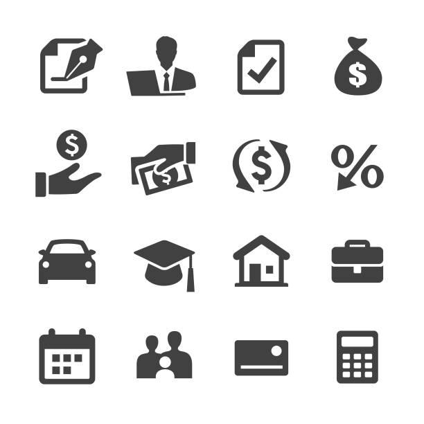 ilustrações, clipart, desenhos animados e ícones de ícones de empréstimo - série acme - empréstimo