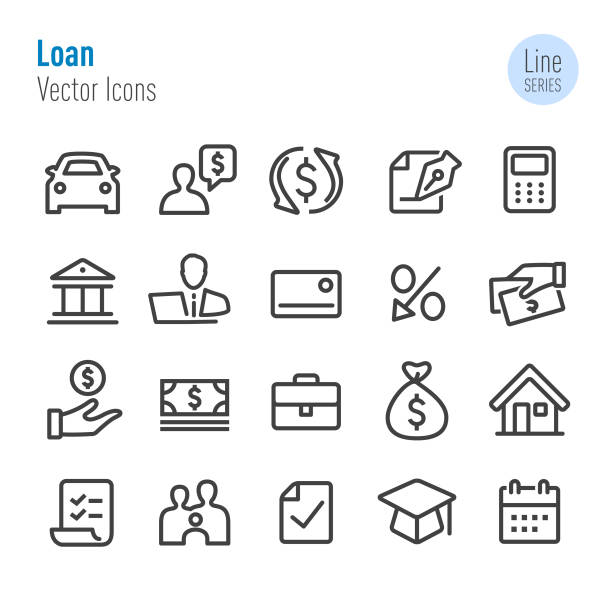 Loan Icons - Vector Line Series Loan, finance, clip art stock illustrations