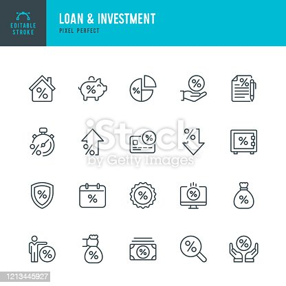 Loan & Investment - thin line vector icon set. 20 linear icon. Pixel perfect. Editable outline stroke. The set contains icons: Interest Rate, Loan, Investment, Bank Deposit, Expense, Mortgage, Percentage Sign.
