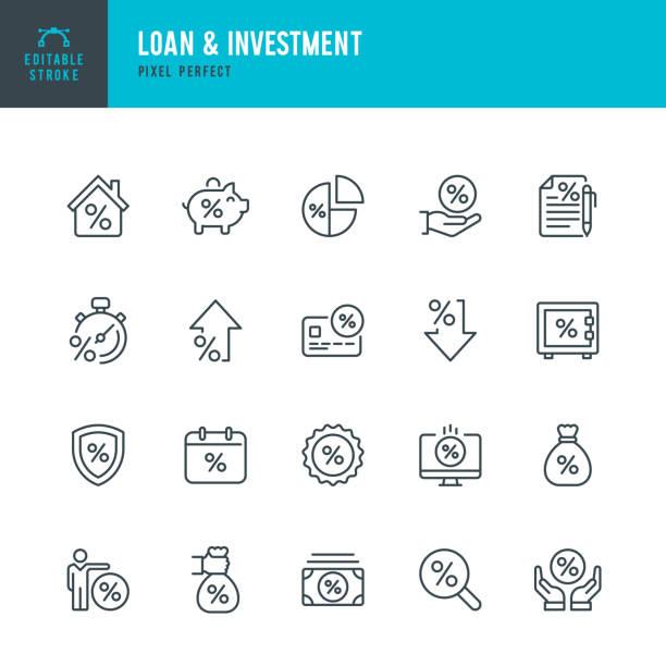 ilustrações, clipart, desenhos animados e ícones de loan & investment - conjunto de ícones de vetor de linha fina. pixel perfeito. traçado editável. o conjunto contém ícones: taxa de juros, empréstimo, investimento, depósito bancário, despesa, hipoteca. - empréstimo