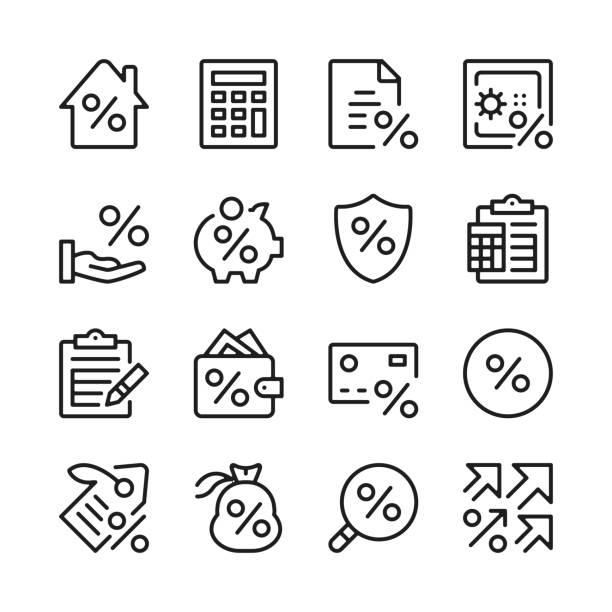 ilustraciones, imágenes clip art, dibujos animados e iconos de stock de conjunto de iconos de línea de préstamo. crédito, tasa de interés, pago, inversión. conceptos de diseño gráfico modernos, colección de elementos de contorno lineal simple. diseño de línea delgada. iconos de línea vectorial - calculator