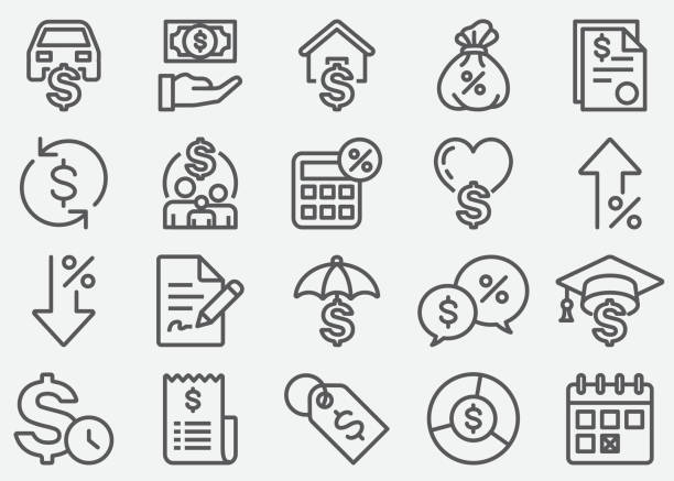 Loan Line Icons Loan Line Icons expense stock illustrations