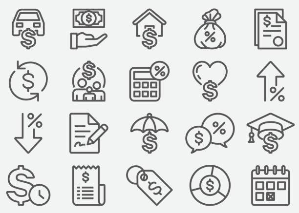 ilustrações, clipart, desenhos animados e ícones de linha ícones do empréstimo - empréstimo