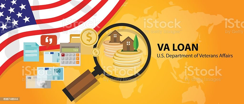 VA Loan mortgage  in the United States guaranteed by the vector art illustration