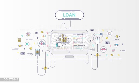 Loan online Infographics. Loan agreement between the lender and the borrower. Flat line icons design contains loan offer, finance, money, bank, creditor, and debtor. Vector illustration.