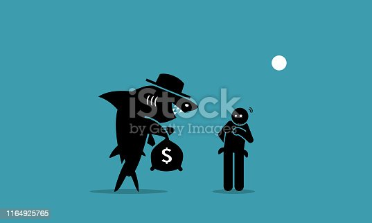 Vector artwork depicts a loan shark trying to lend money to a person that has financial difficulties. The man is hesitated and unsure if he want to borrow the money.