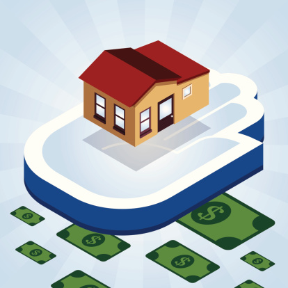 Loan theme with home and money