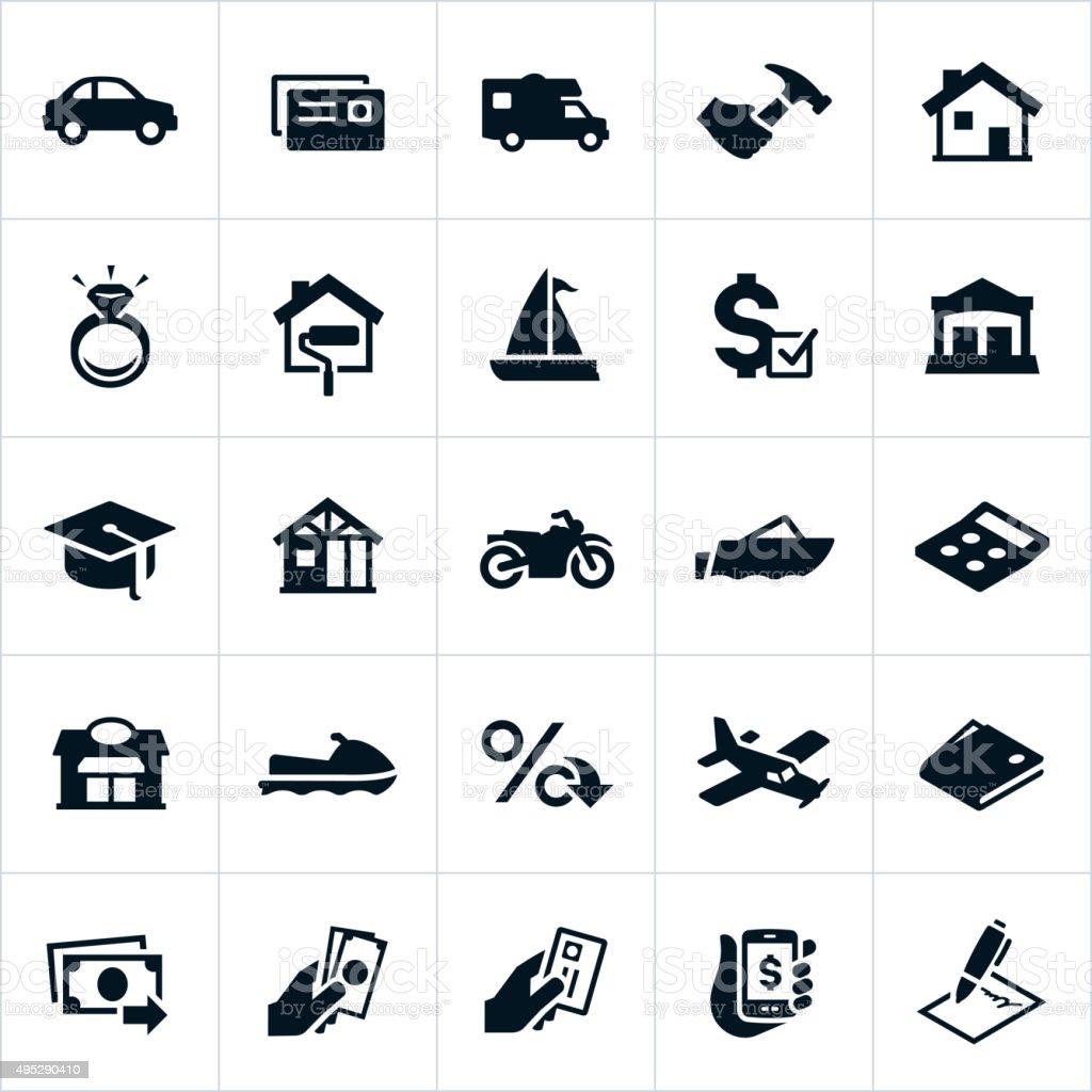 Loan Types Icons vector art illustration