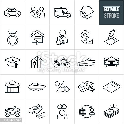 An icon set of types of loans that include editable strokes or outlines using the EPS vector file. The icons include a car loan, handshake between two people securing a loan, RV, home loan, mortgage, wedding ring, home renovation, cash, loan approval, loan document with signature, education, construction loan, motorcycle, motor boat, bank, business loan, yacht, interest rate, air plane, calculator, ATV, debt, person borrowing from bank, lending and a stack of cash.