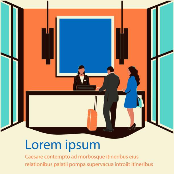 lobi otel - hotel reception stock illustrations