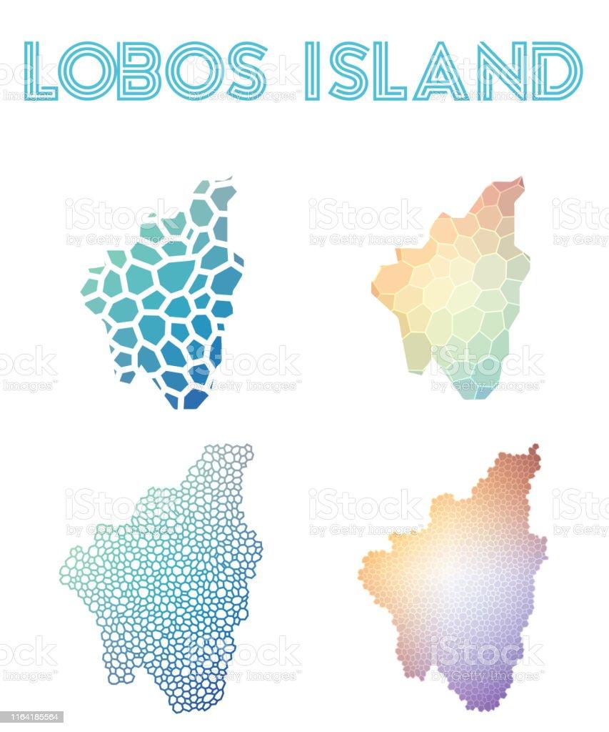 Isla De Lobos Mapa.Ilustracion De Mapa De Islas Poligonales De La Isla De Lobos