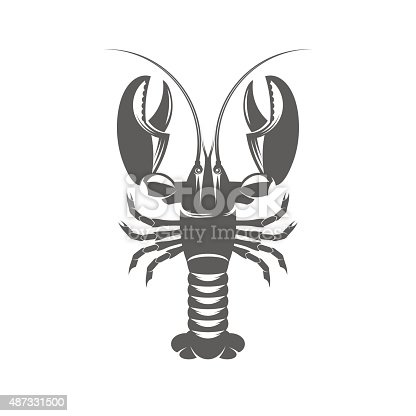Vector illustration of a lobster in the old-fashioned style and line-art style. Can be used as a tattoo