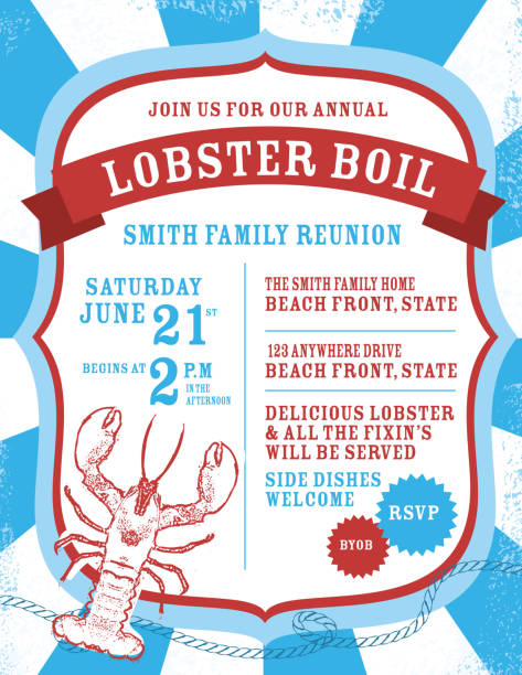 lobster boil indpendence day invitation design template - reunion stock illustrations, clip art, cartoons, & icons