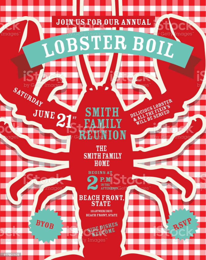 Lobster Boil invitation design template red and white tablecloth background vector art illustration