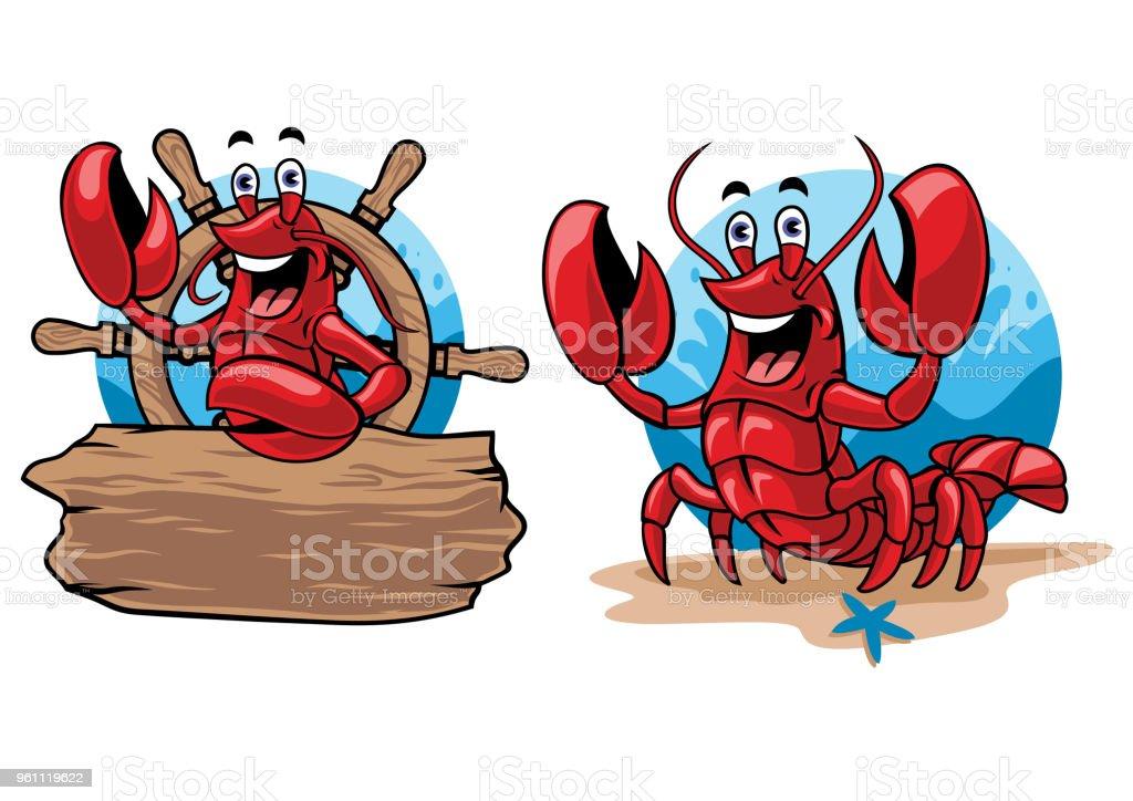 lobster cartoon set vector art illustration