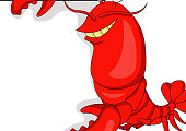 Vector illustration of Lobster cartoon with blank sign