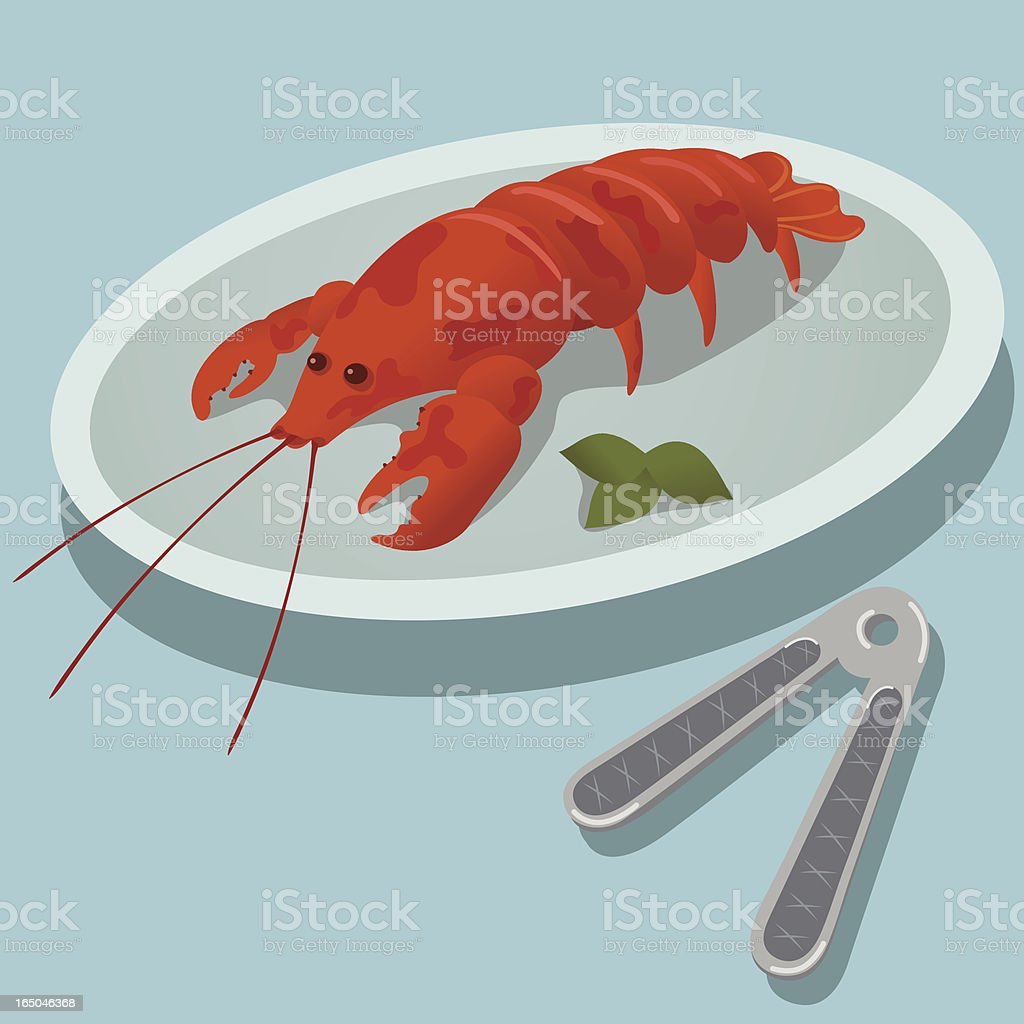 Lobster Dish and Cracker royalty-free stock vector art