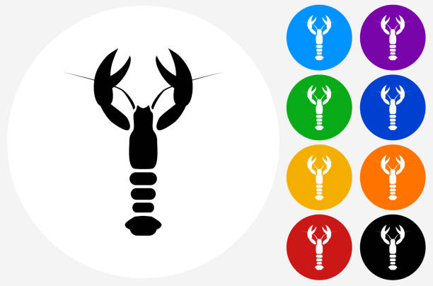 Lobster Icon on Flat Color Circle Buttons vector art illustration